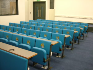Evertaut Diploma lecture theatre seating in a press room