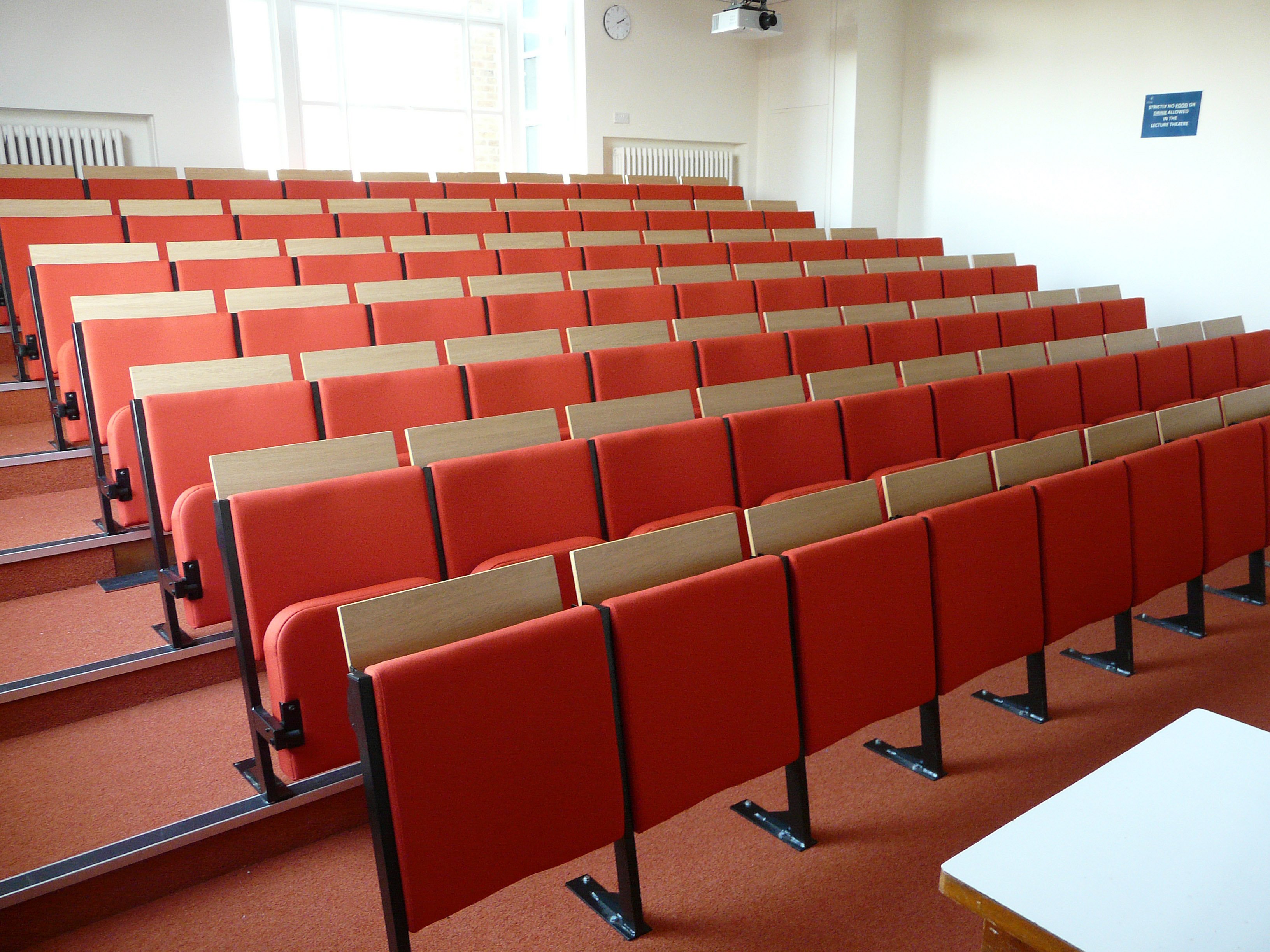 Diploma lecture theatre seating bespoke tailored with individual flip up desks