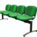 Evertaut Dual beam seating upholstered in green fabric with black metal frame