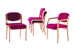 Evertaut EELM wooden frame stacking chairs for meeting room, reception or waiting room