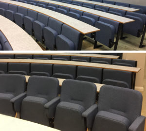 Evertaut Aspire and Diploma Lecture Theatre seating in blue-grey fabric