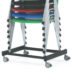 Stack of Evertaut Sentinel stacking chairs shown on storage trolley with wheels