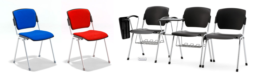 Range of Evertaut Sentinel Stacking Chairs upholstered in blue and red fabrics and row of black plastic seats with underseat baskets and writing tablet