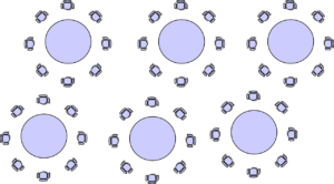 Drawing showing conference seating positioned around round tables in banquet style
