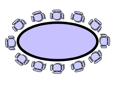 Drawing showing conference seating positioned around a table in boardroom style