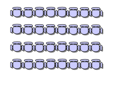 Drawing showing conference seating positioned in straight rows in a theatre style
