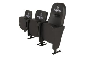 3 different designs of Evertaut luxury stadium seats upholstered in black vinyl