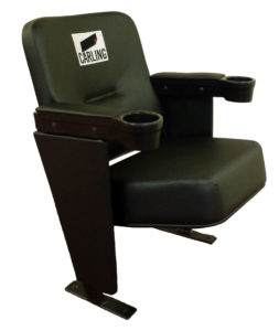 Black upholstered stadium seat with cup holders and embroidered logo