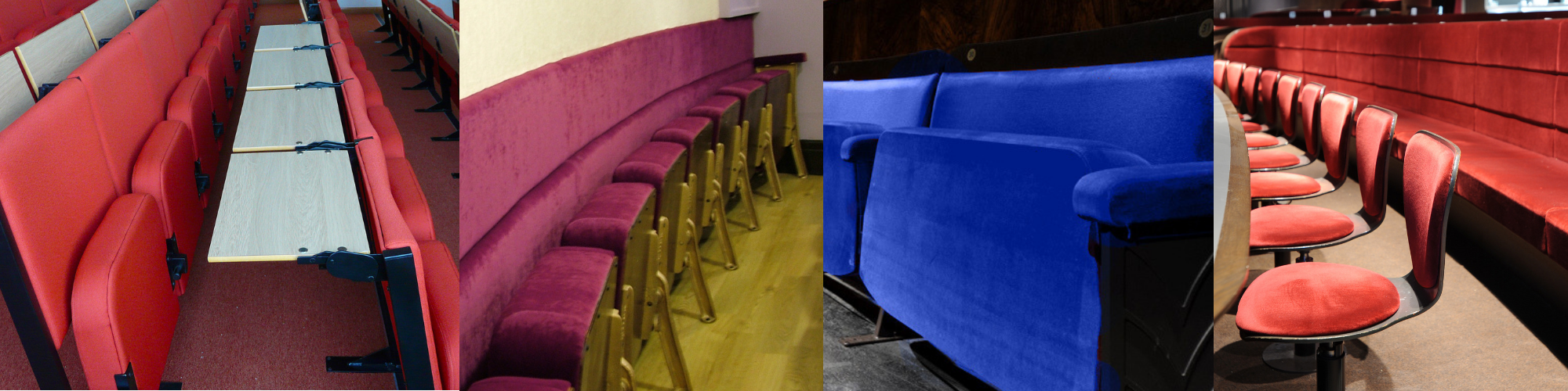 Range of different bespoke auditorium and theatre seating manufactured by Evertaut