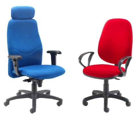 Evertaut office chairs upholstered in blue and red fabric