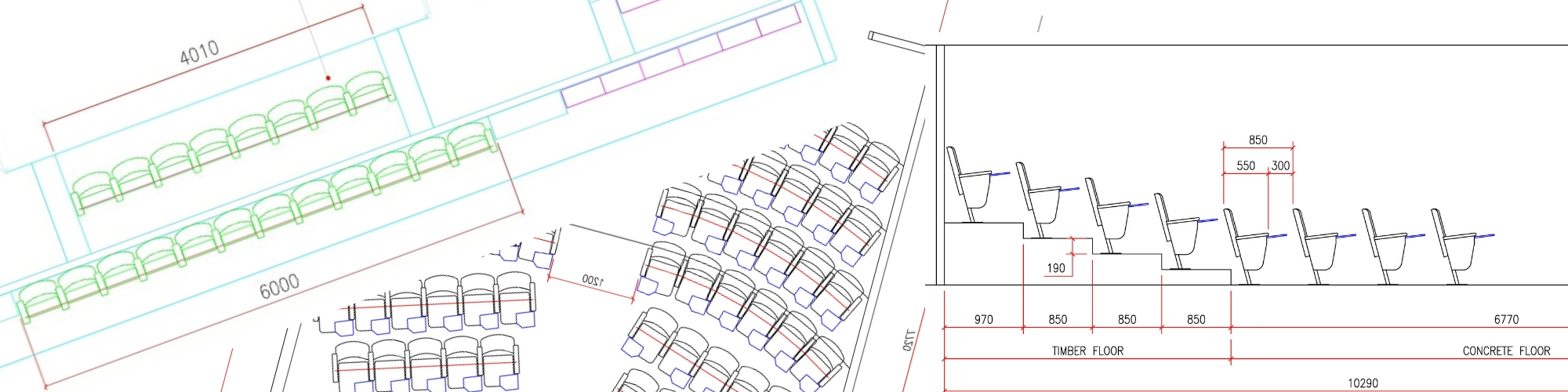 Selection of seating layout drawings for auditoria