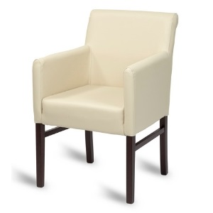 Square back upright armchair upholstered in white faux leather with dark oak wooden legs