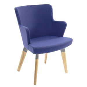 Evertaut Skapa Armchair upholstered in blue fabric with natural beech wooden legs