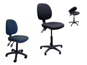 2 different black upholstered check-out chairs with option of folding back on one chair