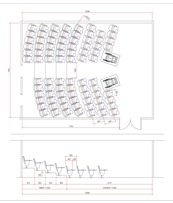 Lecture theatre seating layout plan diagram for a university lecture theatre
