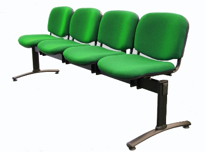 Evertaut waiting room beam seating with 4 seat places upholstered in green fabric