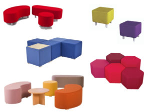 Evertaut's range of cube, drum, crescent and oval shaped modular seating