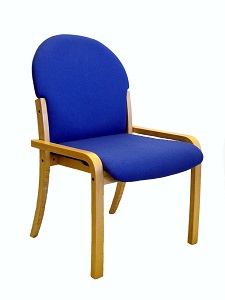 Evertaut upright waiting room chair with wooden frame and upholslered seat and back