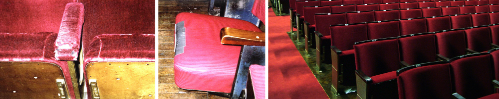 Close up of worn seats in a theatre before refurbishment and auditorium with fixed seating after refurbishment