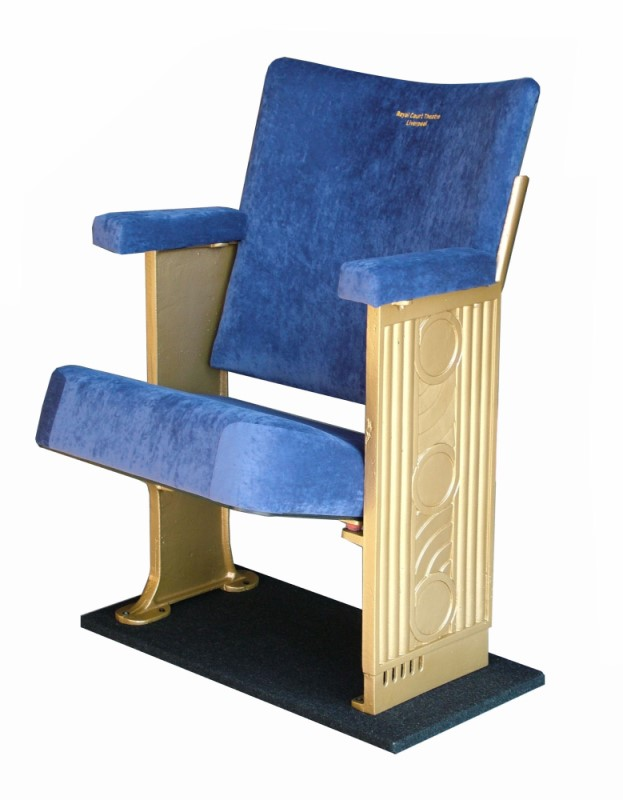 Refurbished theatre seat with pale blue velvet upholstery