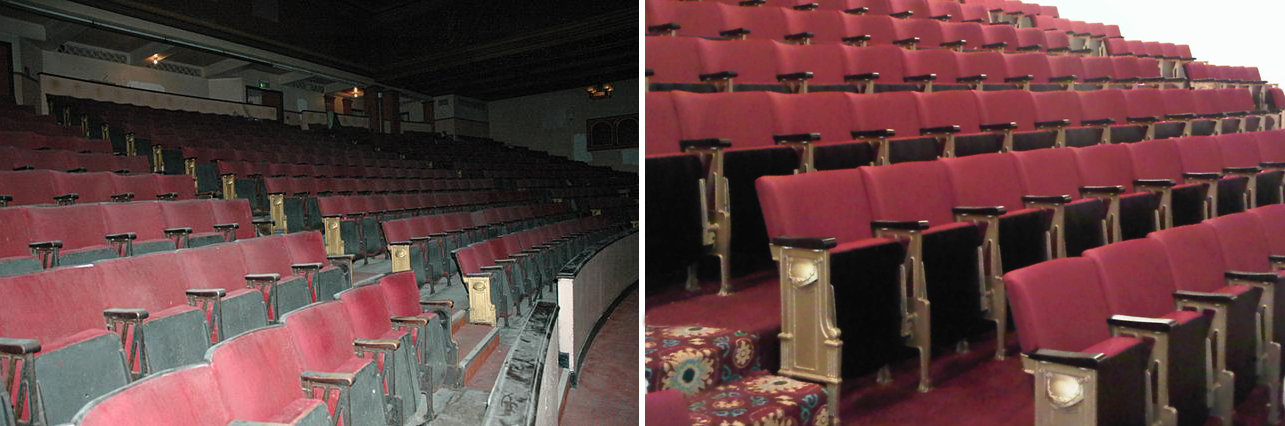 Old unused theatre auditorium with dusty seats and same auditorium shown after full refurbishment of fixed seating