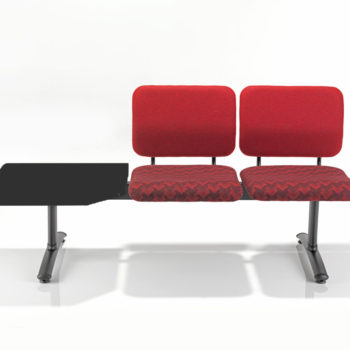 Red Dandi waiting room chairs on beam with integral corner table