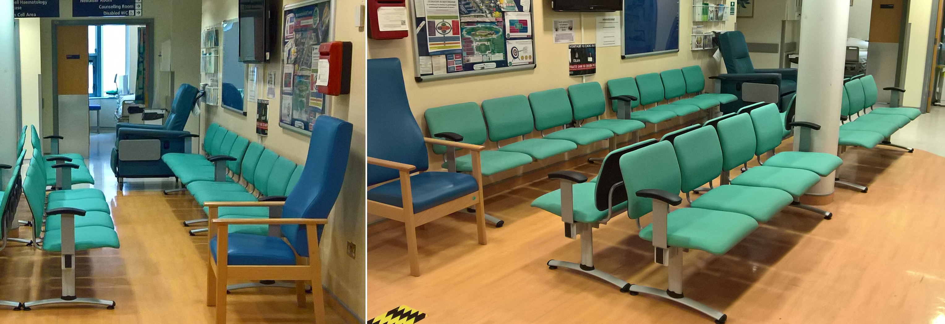 Hospital waiting room with Dandi Beam seating and other waiting room chairs