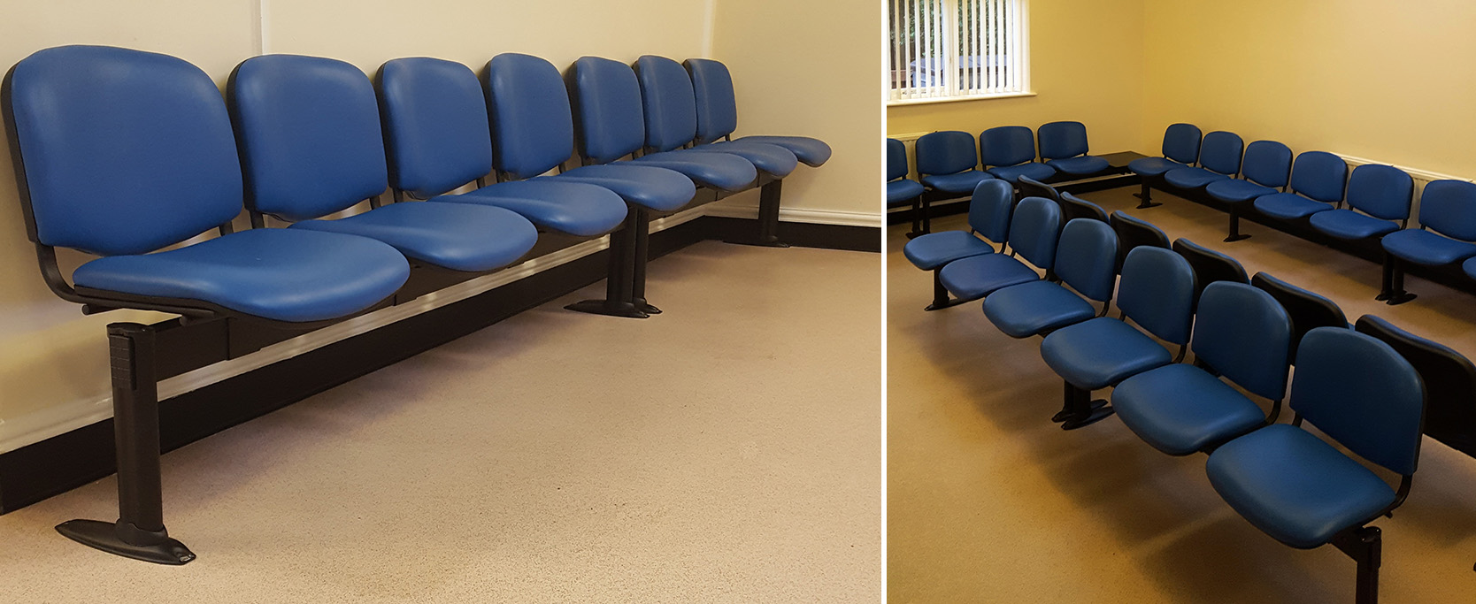 Doctors waiting room with rows of beam seating waiting room chairs upholstered in blue vinyl