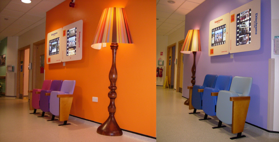 2 hospital corridor waiting areas with award winning design scheme with orange and blue walls, bold coloured beam seating and large lamp decor