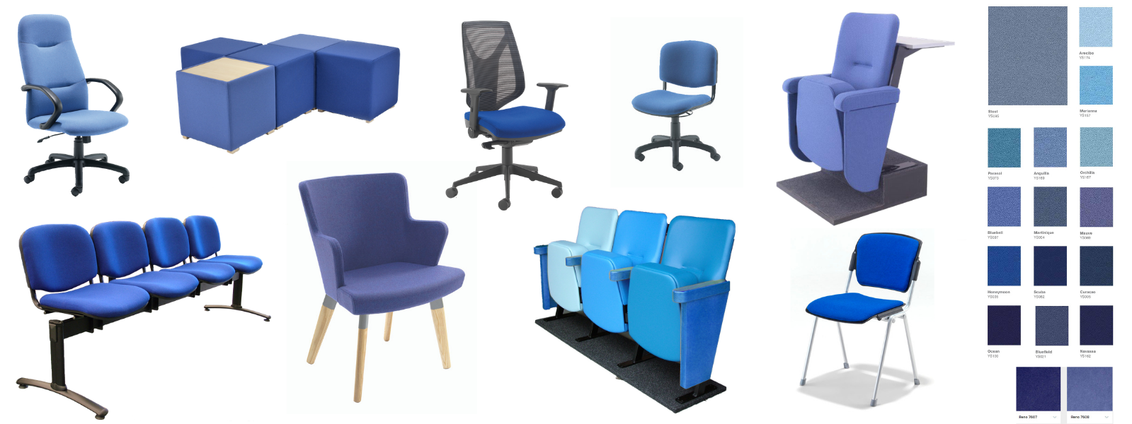Selection of different chair styles in a variety of blue fabrics with colour swatches
