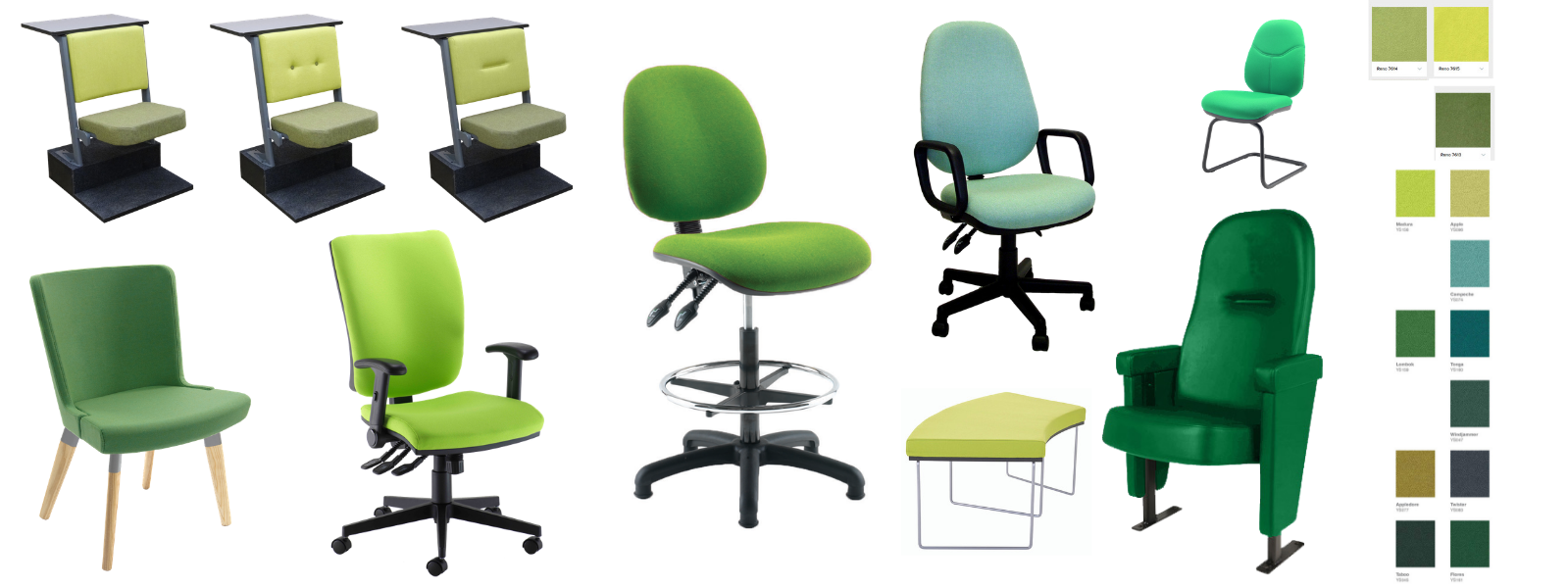 Selection of different chair styles in a variety of green fabrics with colour swatches