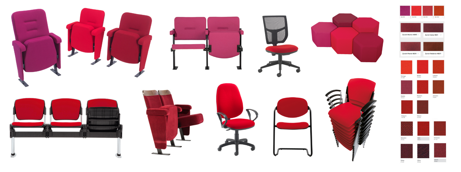 Selection of different chair styles in a variety of red fabrics with colour swatches