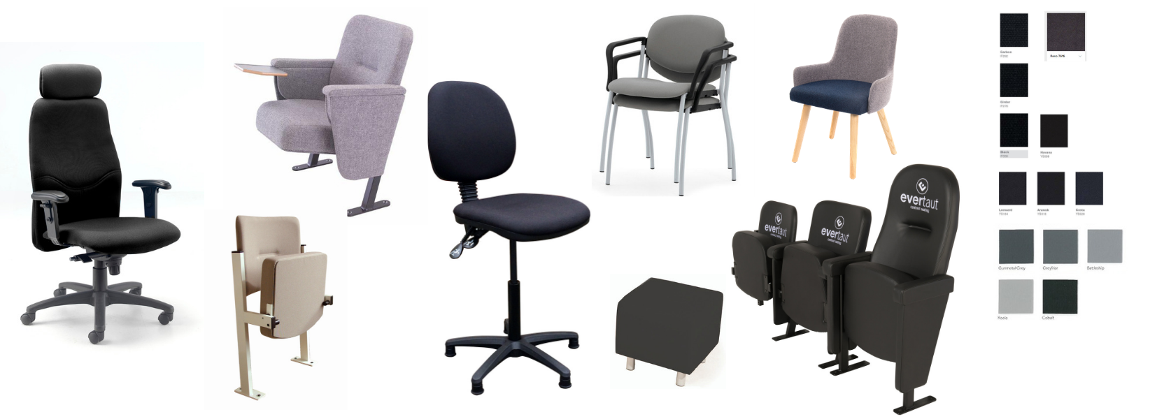 Selection of different chair styles in a variety of neutral fabrics with colour swatches