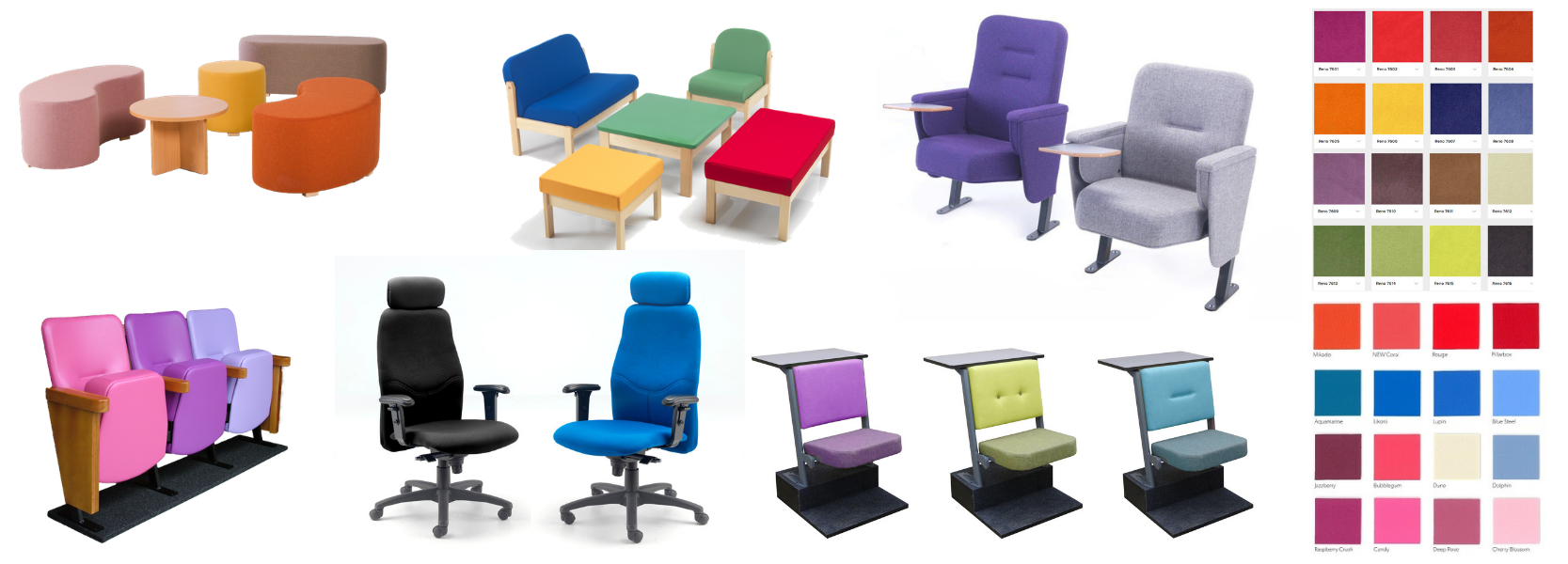Range of different seat types in a variety of fabric colours and fabric swatches