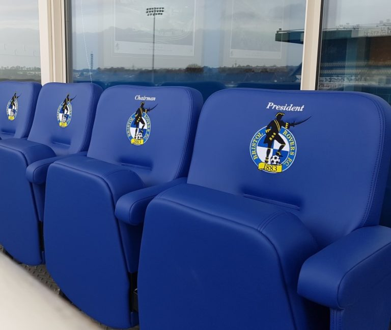 Luxury stadium seating with embroidered club logo at Bristol Rovers FC