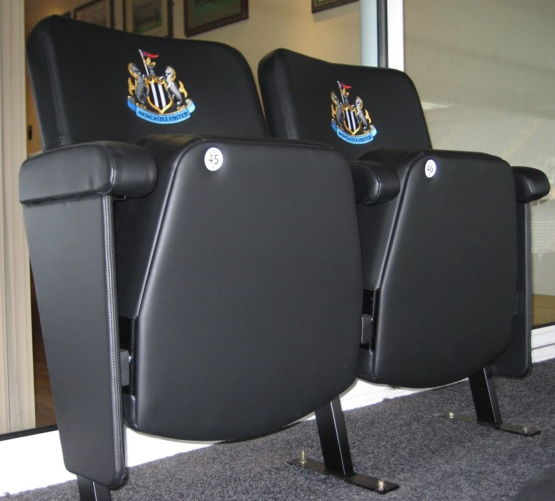 Luxury stadium seating with embroidered club crest t Newcastle United FC