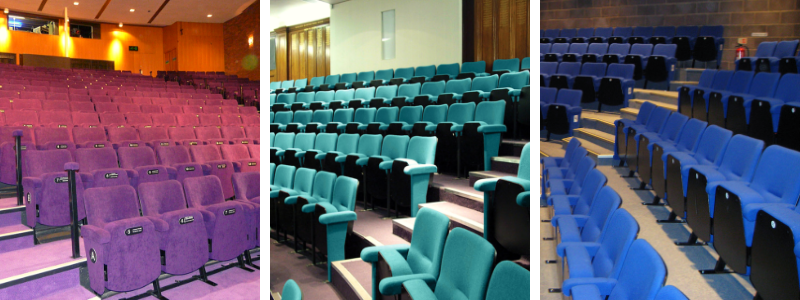 3 different theatre auditoriums each with different coloured seats - purple, green and blue