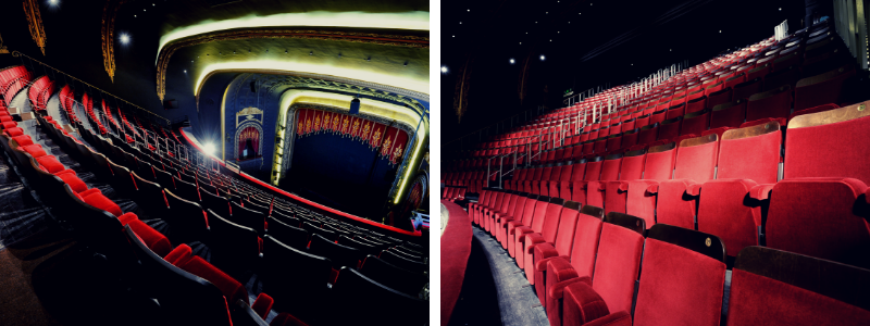 View of auditorium seats from back and front of a theatre