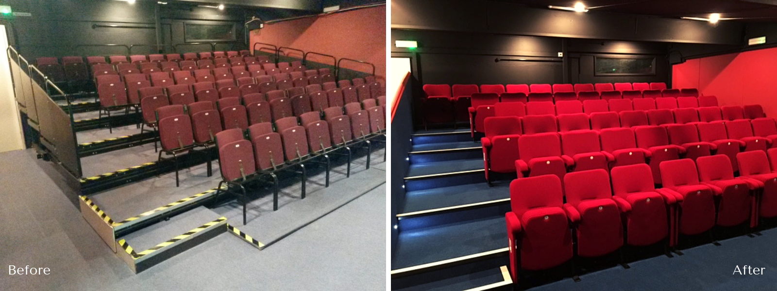 Formby Little Theatre before and after installation of new auditorium seats