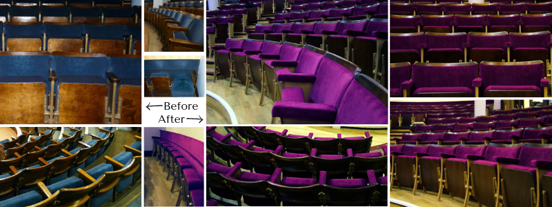 Theatre auditorium shown before and after seating refurbishment