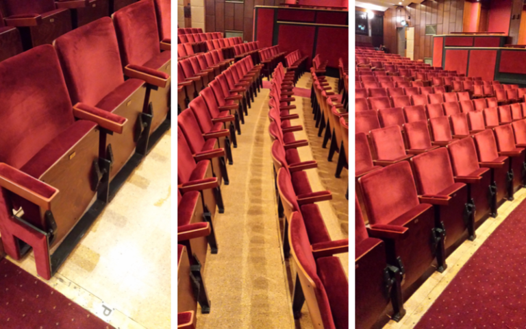 3 different views of seats in Belgrade Theatre after seating refurbishment by Evertaut