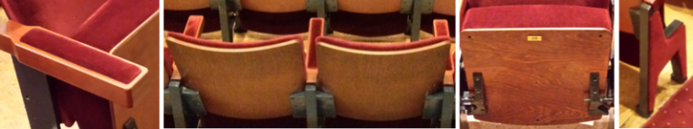 Close up of various parts of theatre seats in Belgrade Theatre following refurbishment by Evertaut