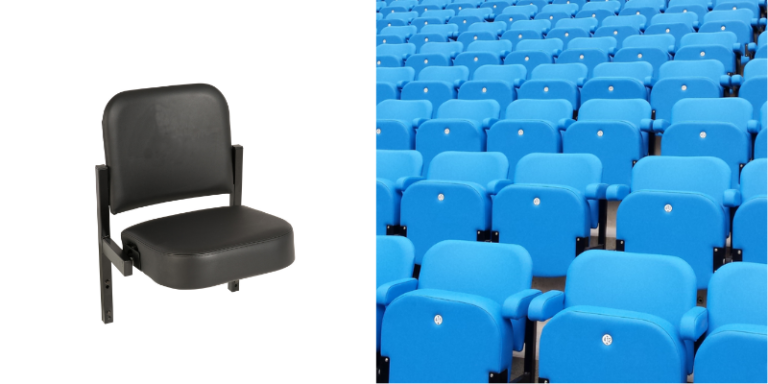 A single Evertaut black Club stadium seat and an installation of blue Club stadium seats in a football stadium