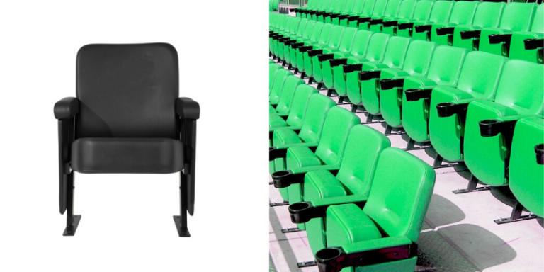 A single black Evertaut VIP stadium seat and an installation of green VIP stadium seats in a football stadium