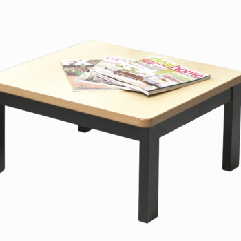 Black steel frame reception table with beech top