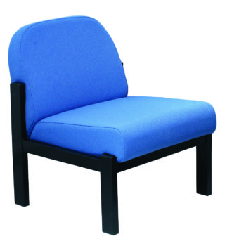 Reception chair with black steel frame and blue upholstery
