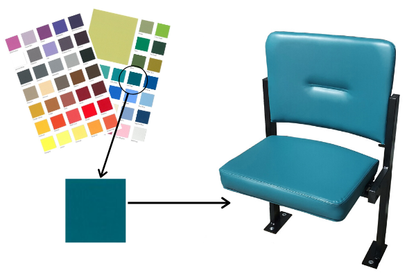 Fabric swatch card, fabric swatch and chair upholstered in jade green vinyl