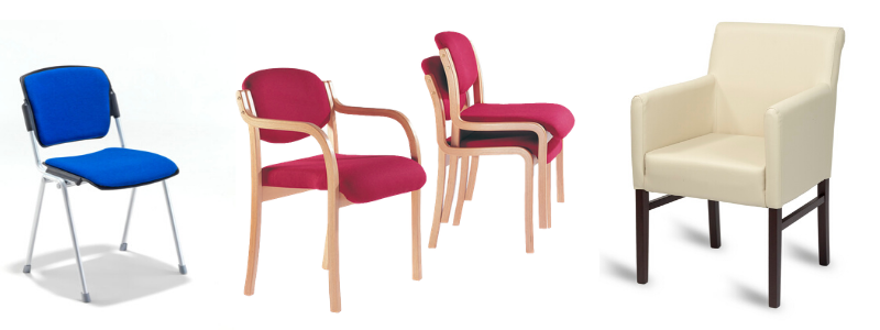 Metal frame chair with blue upholstery, wooden frame chairs with red upholstery and white vinyl upholstered armchair