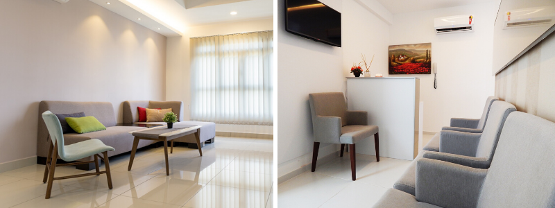 2 different waiting rooms with luxury upholstered seating