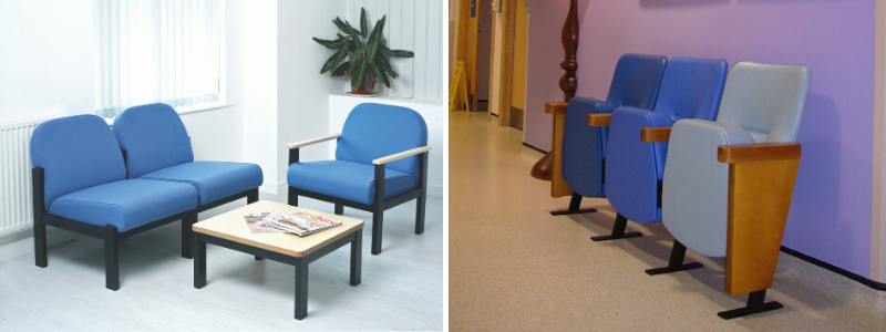 Office waiting room with 3 chairs and table and NHS waiting room chairs in a hospital corridor
